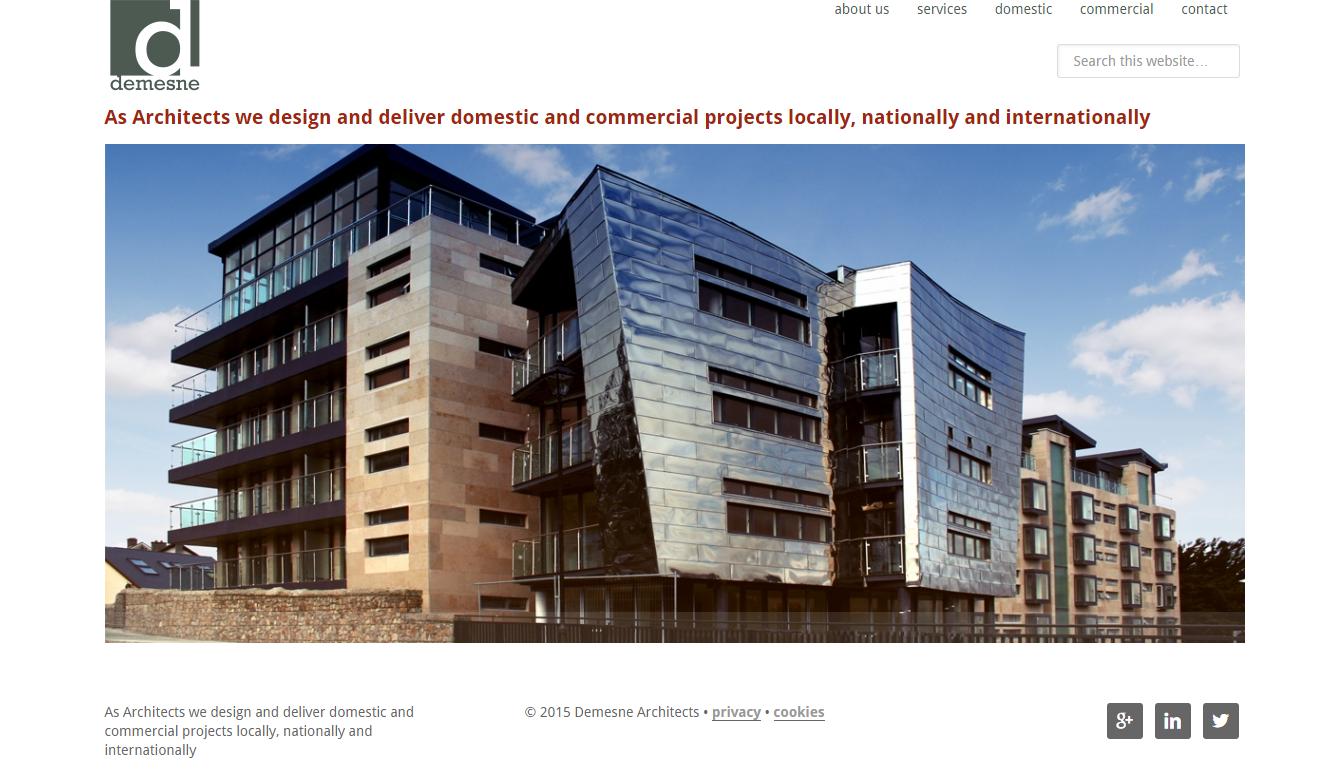 Screenshot of new Demesne Architects website