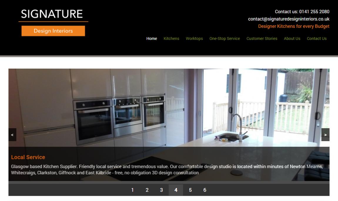 Screenshot of Signature Design Interiors homepage