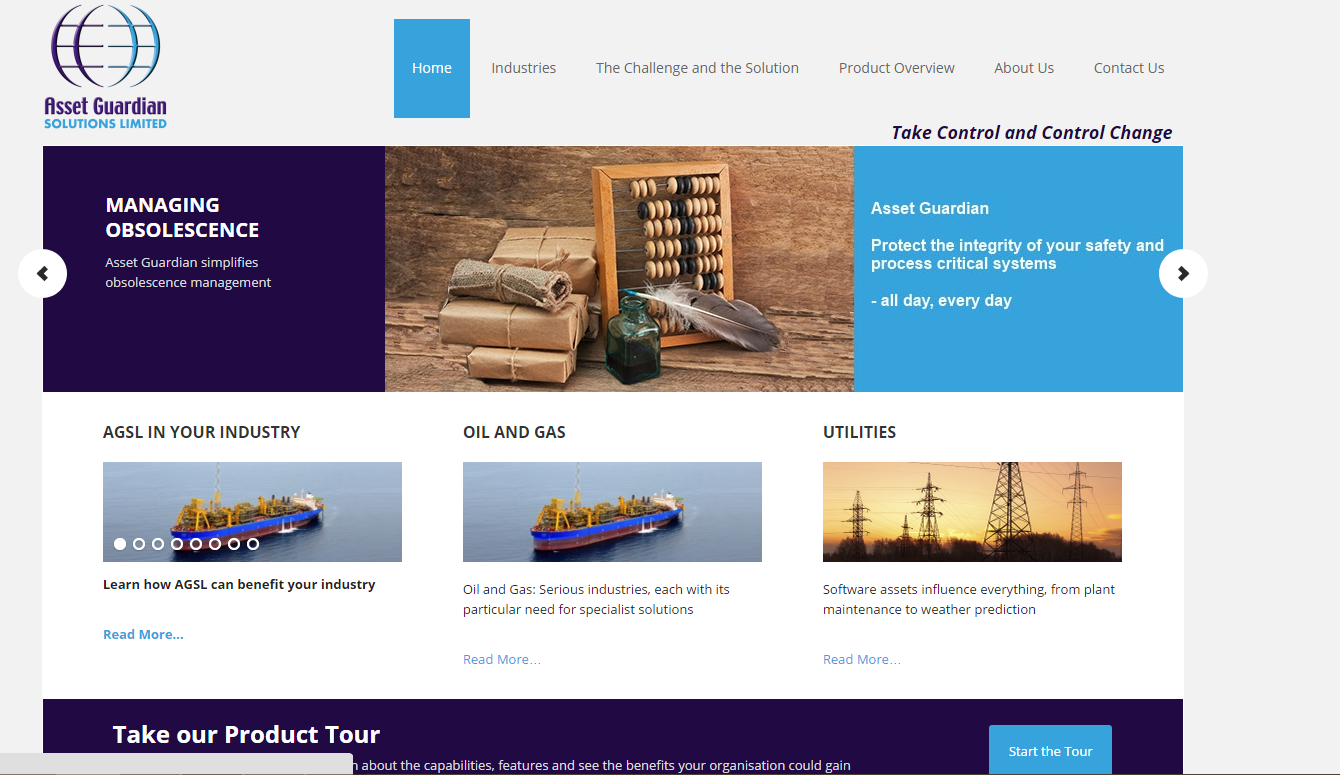 Screenshot of redesigned Asset Guardian Website