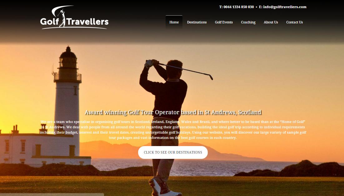 Screenshot of new Golf Travellers multilingual website